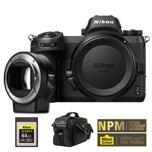 Nikon Z6 Body with FT-Z Adapter,64GB XQD Memory And Leather Bag