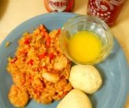 shrimp jambalaya biscuits and butter sauce