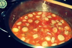 add tomatoes, sauce and paste