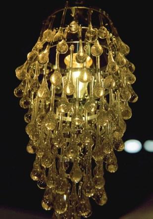 light fixture made of glass drops