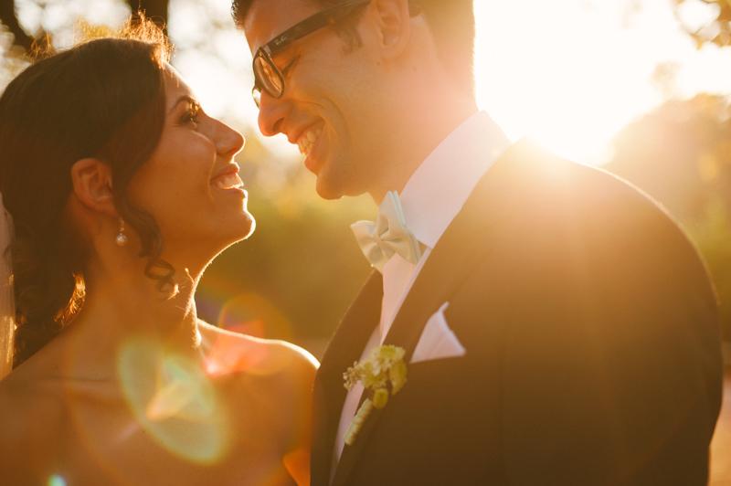 Luminous portrait of bride and groom