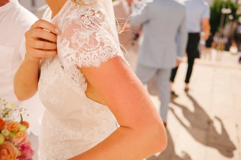 detail of lace wedding dress