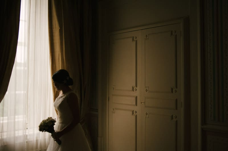 bride lit by window light