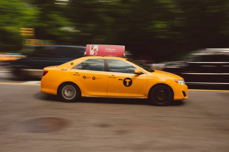 Panning of yellow cab New York