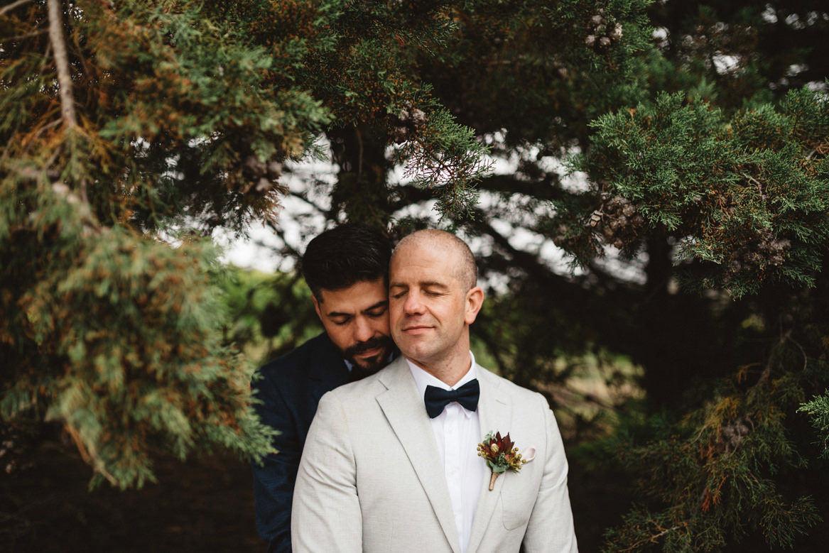 Tasmania wedding photographer portrait of groom and groom same sex wedding