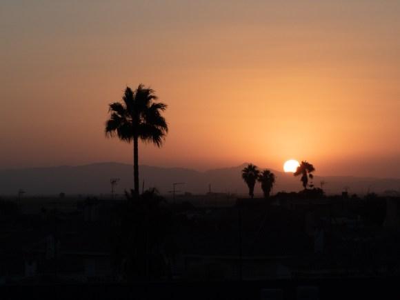 Puesta de sol desde terraza en Mareny Blau - Valencia