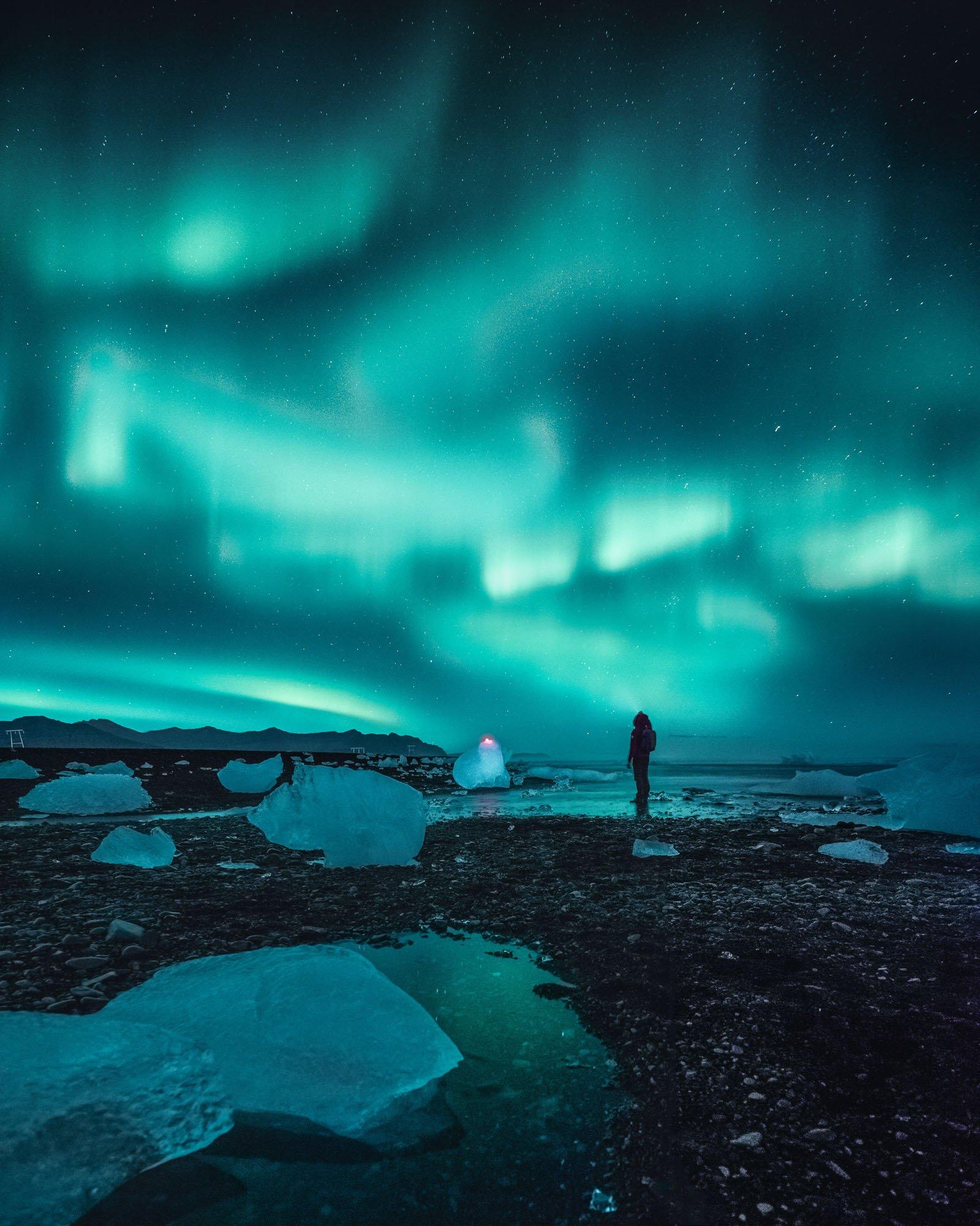 Aurora Boreal Hielo Icebergs - Linzex