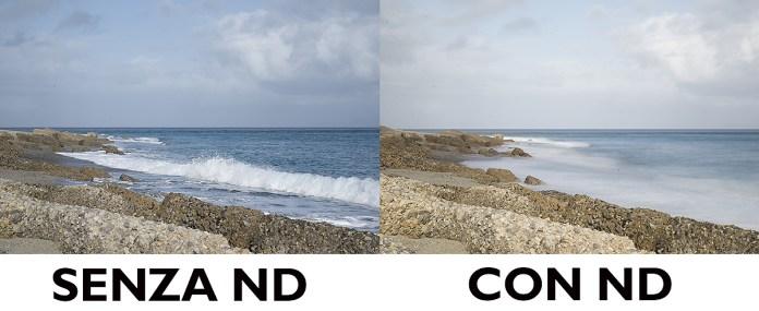 foto con e senza filro ND K&F prova effetto seta