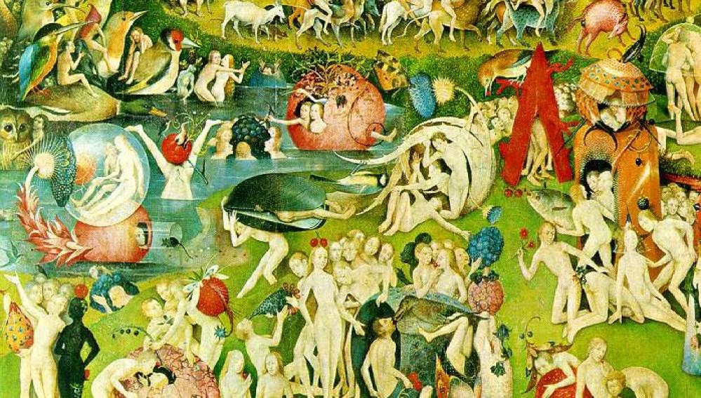Detalle de el jardín de las delicias de El Bosco, con el misterioso mejillón gigante