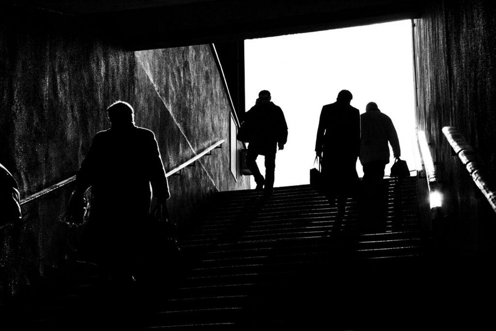 ludzie w Warszawie Black white photography