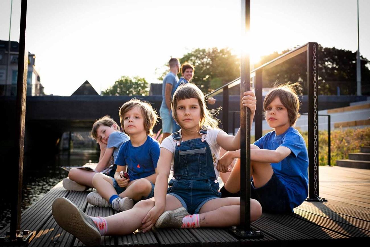 familie portret golden hour stad