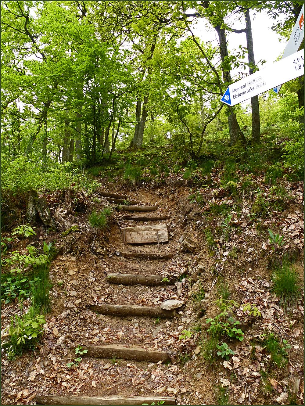 Sehr oft Holzstufen, die bergauf führen