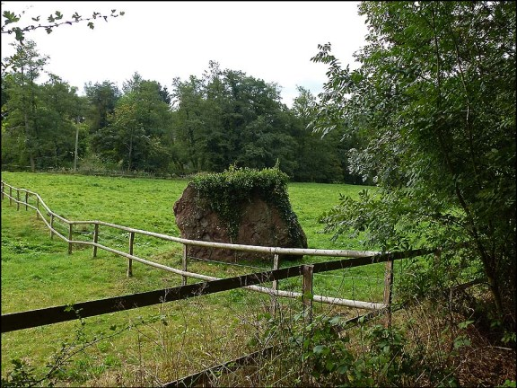 Bei einer durch die Natur verursachten Sprengung der Felsen oberhalb dieser Wiese, löste sich dieser riesige Brocken und schlug hier ein.