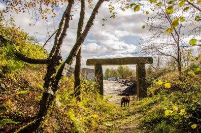 Eingang zum Steinbruch und einer Klatterwand