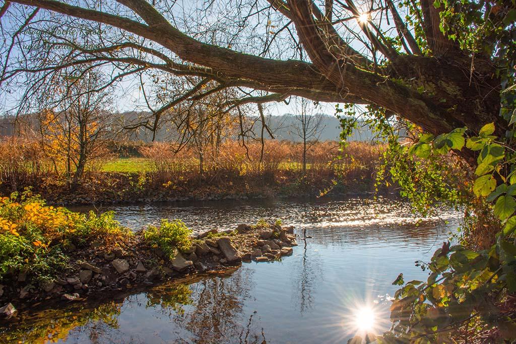 Bild von der Wupper, mit Sonnenspiegelung im Wasser