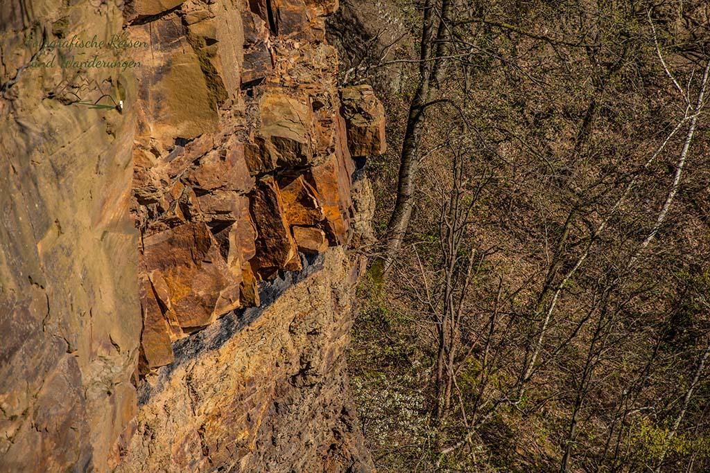 Deutlich sichtbar ein Kohleflöz im Steinbruch Dünkelberg