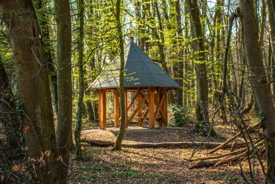 Schutzhütte im Wald