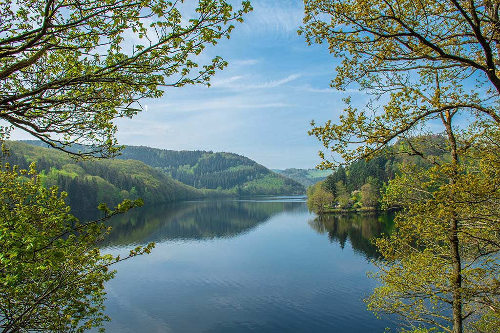 Blick auf den Obersee - Wanderwege in der Eifel