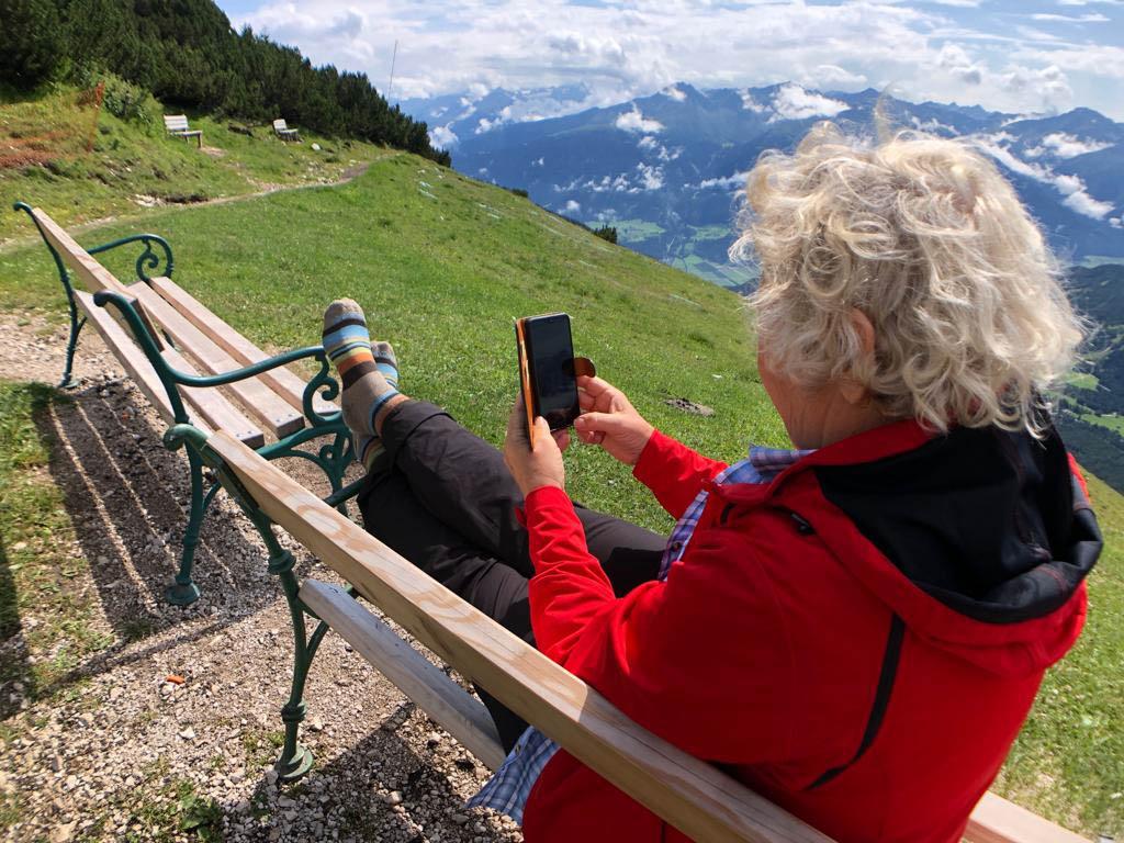 Ein netter Platz zum surfen im Internet-Härmelekopf - Pause vom Zugspitze wandern