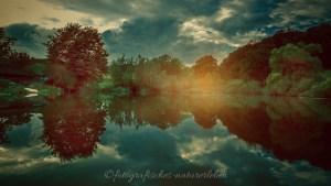 kleiner Waldsee mit Wolkenspiegelung