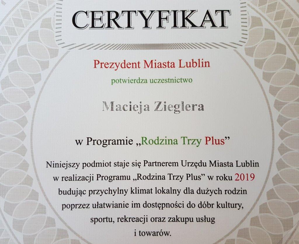 certyfikat od Prezydenta Miasta Lublina