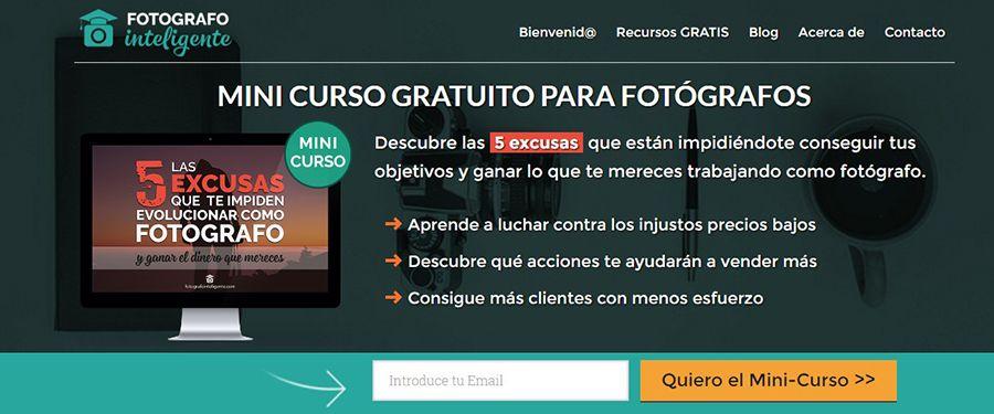 Lead Magnet Mini-curso gratuito para fotógrafos