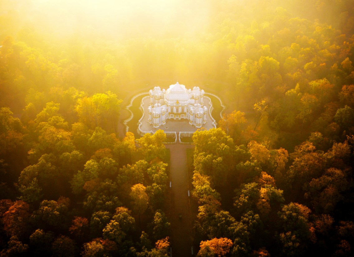 Hermitage Pavilion, in the grounds of the Catherine Palace, at sunrise. Autumn from above; aerial images of Saint Petersburg before the long northern winter begins.