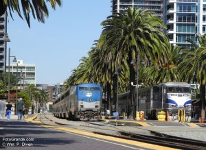 Amtrak and Coaster trains idle in San Diego, Calif. © William P. Diven