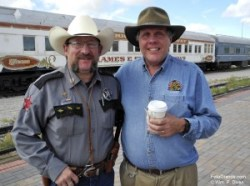 SL&RGRR mechanic, security officer and former Alamosa police officer M. Shawn Woods and railroad President Ed Elliss. Photo © William P. Diven.