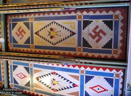 Ceiling motifs in the 1923 Schaffer Hotel, Mountainair, N.M. Photo © William P. Diven.