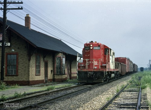 Local freight on the Soo Line, Mukwonago, Wis., 1968. Photo © William P. Diven. (Click to enlarge)