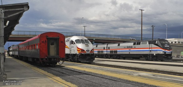 Private cars, New Mexico Rail Runner Express and Amtrak President Joe Boardman's special train mingle in Albuquerque, N.M.