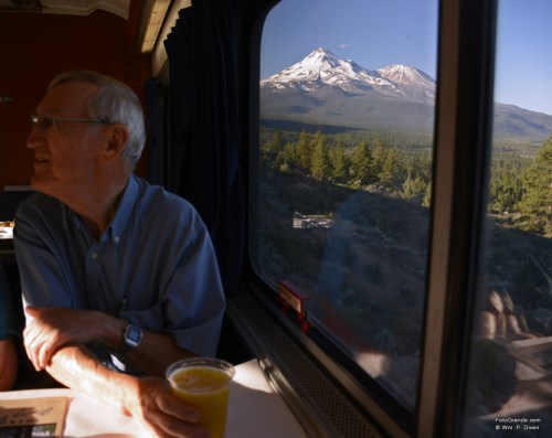 Breakfast on the northbound Starlight in 2015 came with a view of Mount Shasta. Photo © William P. Diven. (Click to enlarge.)