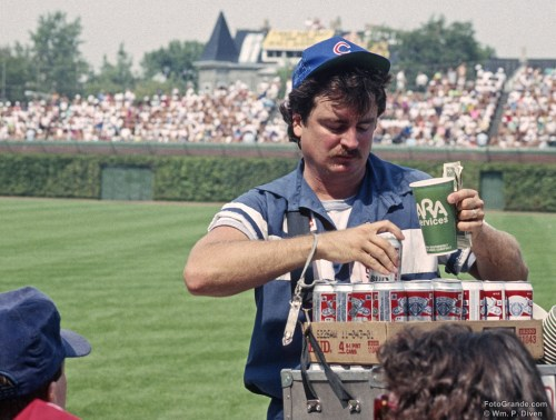 Beer and baseball were meant for daytime consumption at Wrigley Field. Cubs vs. Giants, 1991. Photo © William P. Diven. (Click photo to enlarge)
