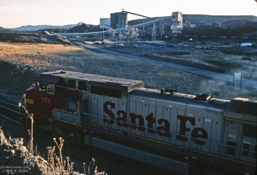 Loading coal on the Santa Fe Railway at York Canyon, New Mexico.