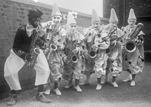 The Six Brown Brothers, a vaudeville saxophone band, ca. 1915-1920.