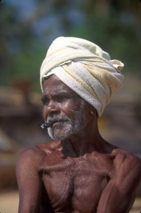 Sri Lanka, Matara, playa de pescador, retrato, trabajo