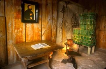 Alemania, Turingia, Eisenach, Castillo de Wartburg, Retrato de Lutero, Biblia Alemana