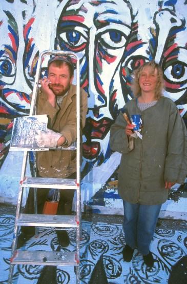 Alemania, Berlin, Berlin, el muro, retrato de Schamil y Ute Gimajew. mural, retrato