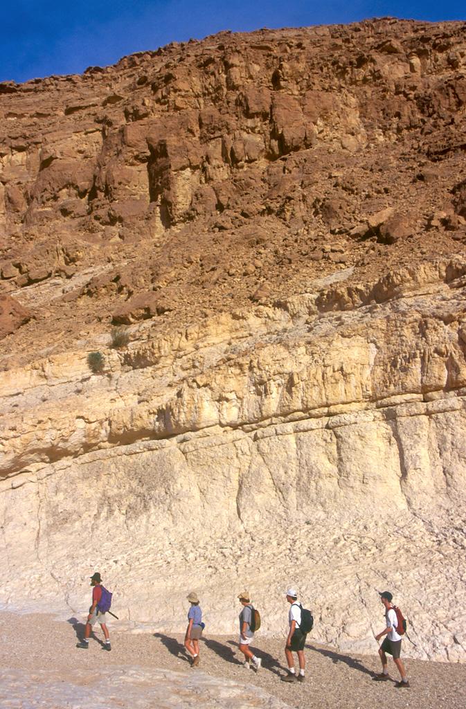 Israel, desierto del Negev, excursionistas