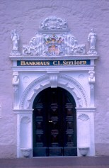 Alemania, Baja Sajonia, Wolfenbüttel, puerta Banco