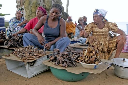 Camerún, Kribi, vendedoras ambulantes