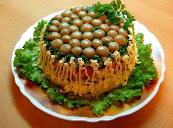 Салат грибная полянка рецепт с фото с опятами