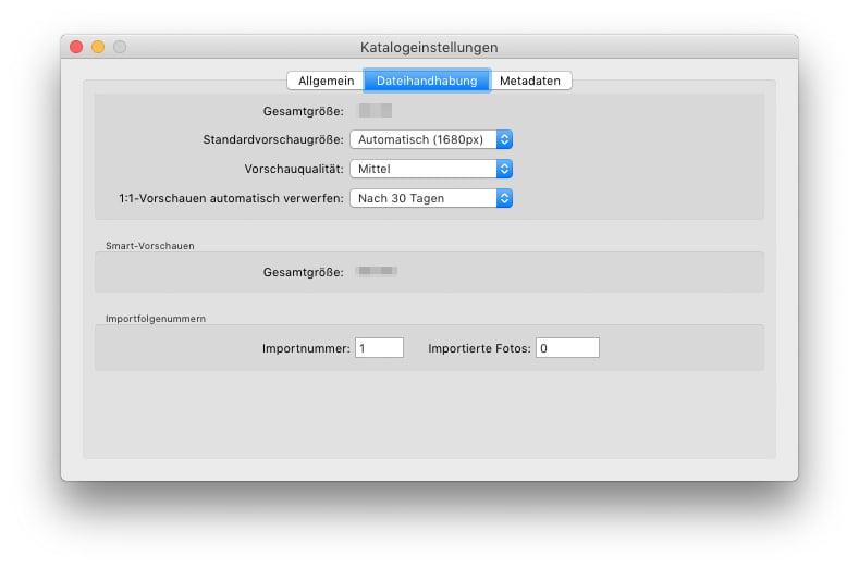 Katalogeinstellungen - Dateiverwaltung