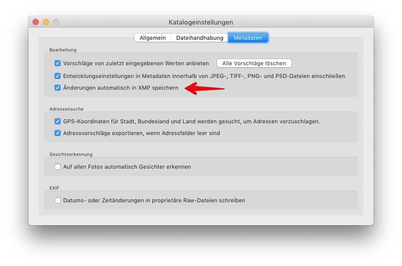"""Katalogeinstellungen - Metadaten - mit aktivierter Funktion """"Änderungen automatisch in XMP speichern"""""""