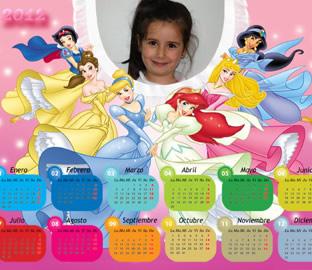 Calendario 2012 Infantil Princesas Disney y Dragón