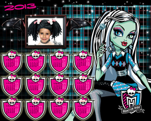 Calendarios para Fotomontajes. Almanaques 2013 Monster High. Destacada