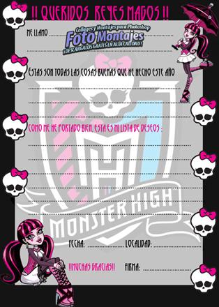 Carta Reyes Magos Monster High
