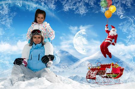 Fotomontajes de Navidad 2013. Fotomontaje visitando a Santa Claus