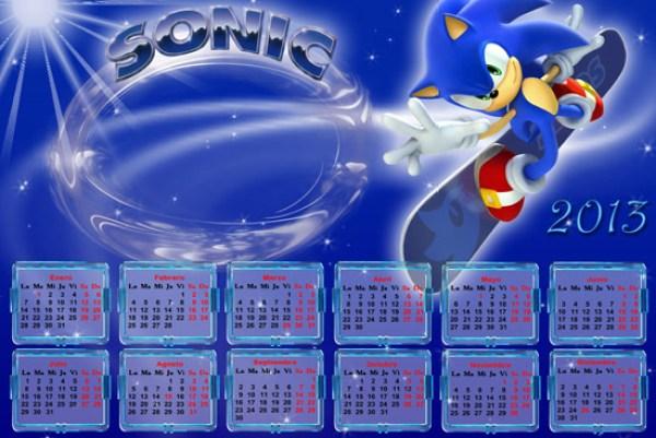 Calendarios para Imprimir 2013 de Sonic